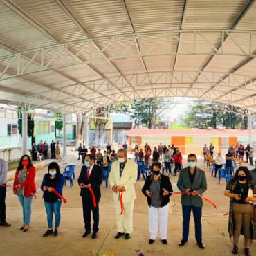 Inauguración de techumbre de la escuela Plan de Ayala
